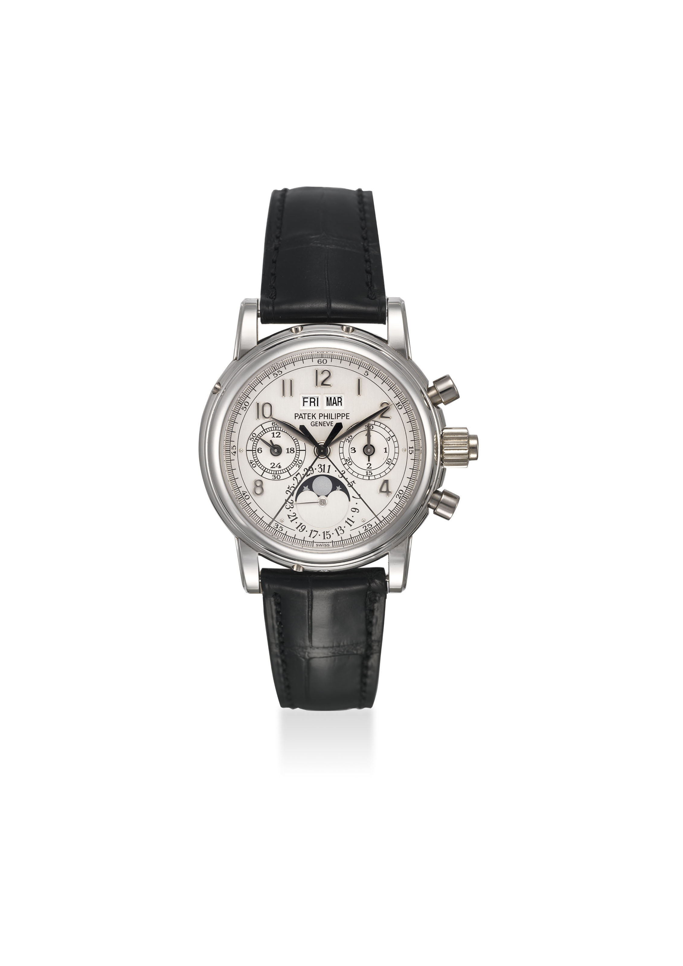 PATEK PHILIPPE. A VERY FINE AND RARE PLATINUM PERPETUAL CALENDAR SPLIT SECONDS CHRONOGRAPH WRISTWATCH WITH MOON PHASES, 24 HOUR AND LEAP YEAR INDICATION, ADDITIONAL CASE BACK, ORIGINAL CERTIFICATE AND BOX