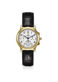L. LEROY. A FINE 18K YELLOW GOLD AUTOMATIC CHRONOGRAPH WRISTWATCH WITH DATE AND CERTIFICAT D'AUTHENTICITE