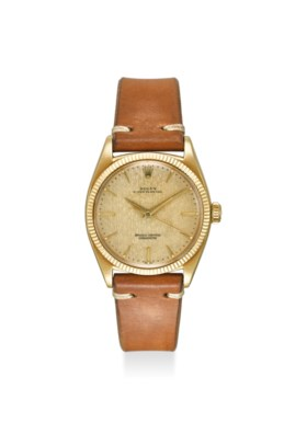 ROLEX A FINE AND RARE 18K YELLOW GOLD AUTOMATIC WRISTWATCH W