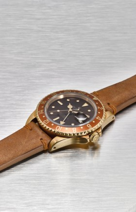 ROLEX A VERY FINE AND RARE 18K GOLD DUAL TIME AUTOMATIC WRIS