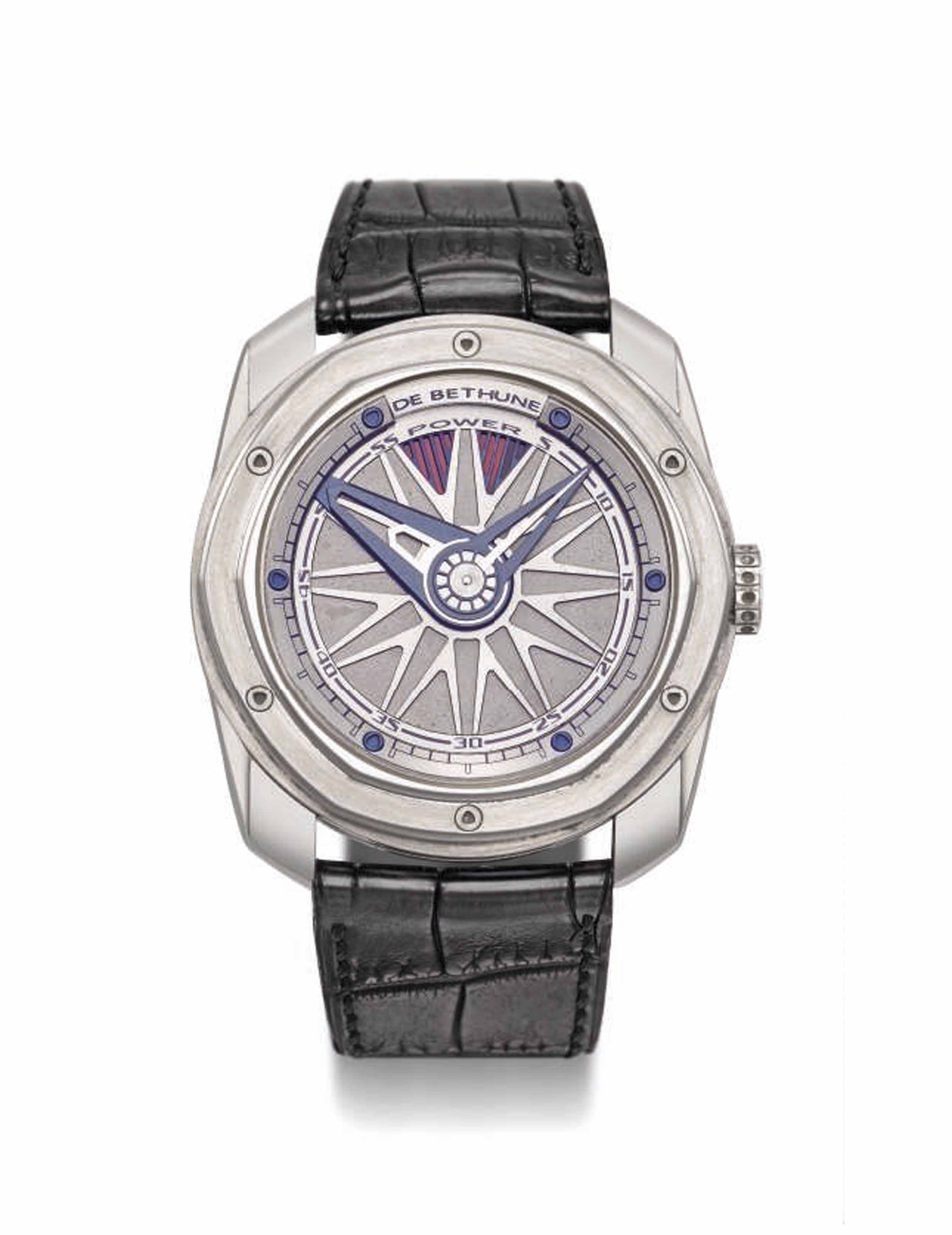 DE BETHUNE. A FINE, LARGE AND INNOVATIVE TITANIUM AUTOMATIC WRISTWATCH WITH SPEED REGULATING SYSTEM, 6-DAYS POWER RESERVE INDICATION, CERTIFICATE AND BOX