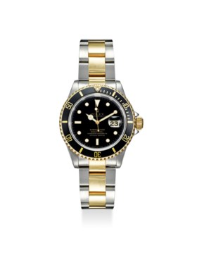 ROLEX A FINE STAINLESS STEEL AND YELLOW GOLD AUTOMATIC WRIST