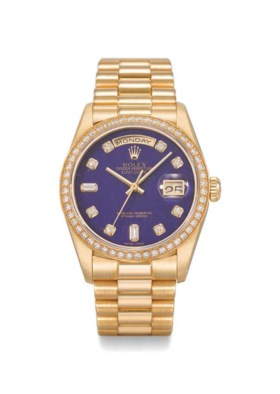 ROLEX A VERY RARE AND ATTRACTIVE 18K GOLD AND DIAMOND-SET AU