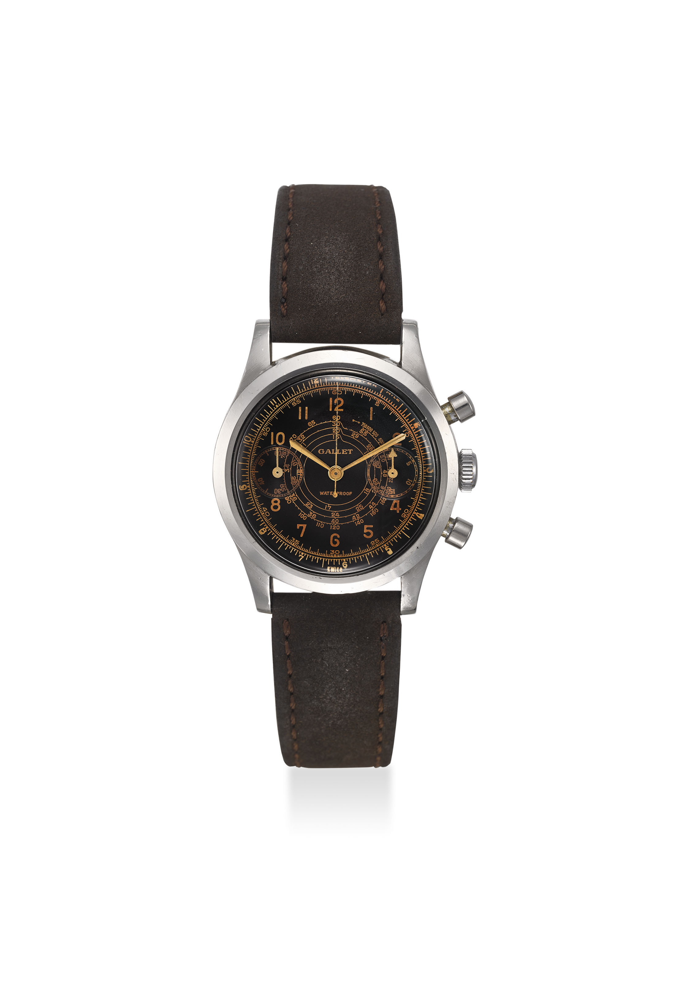 GALLET. A FINE AND RARE STAINLESS STEEL MULTICHRON PILOT CHRONOGRAPH MANUAL WINDING WRISTWATCH