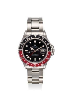 ROLEX A FINE AND RARE, STAINLESS STEEL AUTOMATIC TWO TIME-ZO