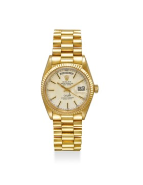 ROLEX A FINE AND EXTREMELY RARE 18K GOLD AUTOMATIC WRISTWATC