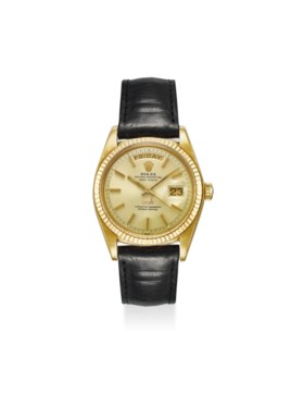 ROLEX A VERY RARE 18K YELLOW GOLD AUTOMATIC WRISTWATCH WITH