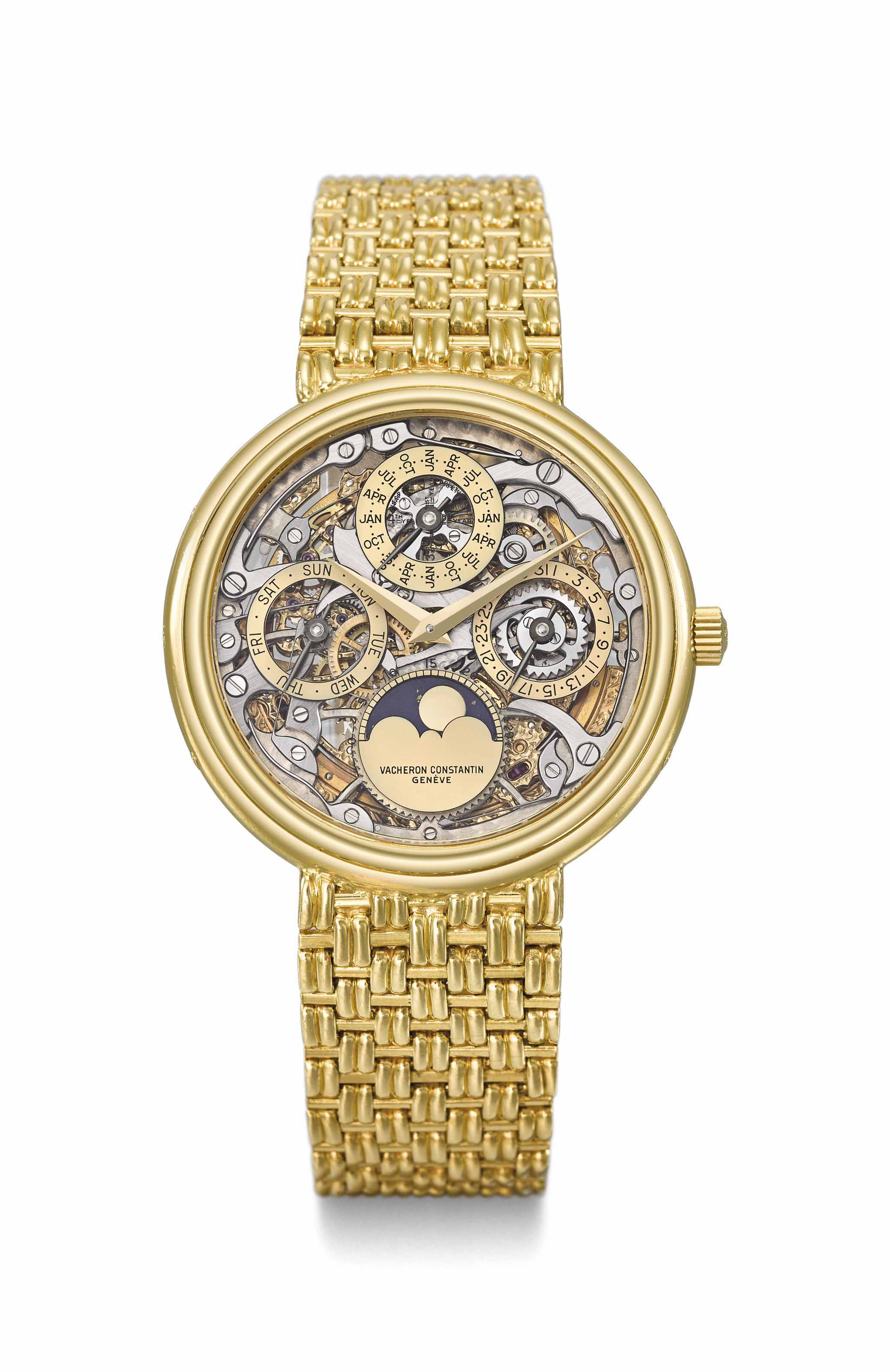 f9d89ae686e Vacheron Constantin. A very fine and rare 18K gold automatic perpetual  calendar skeletonized wristwatch with moon phases and integral 18K gold  bracelet