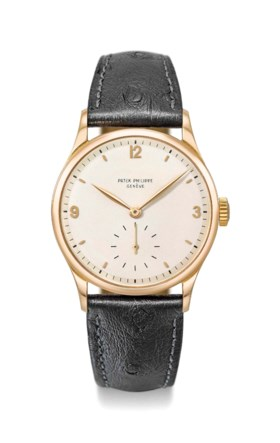 PATEK PHILIPPE A FINE AND RARE PINK GOLD WRISTWATCH