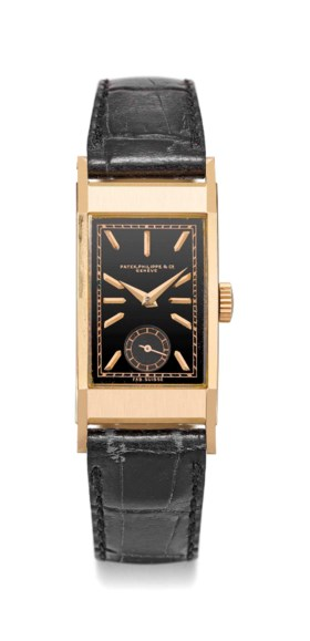 Patek Philippe A fine and rare 18K pink gold rectangular cur