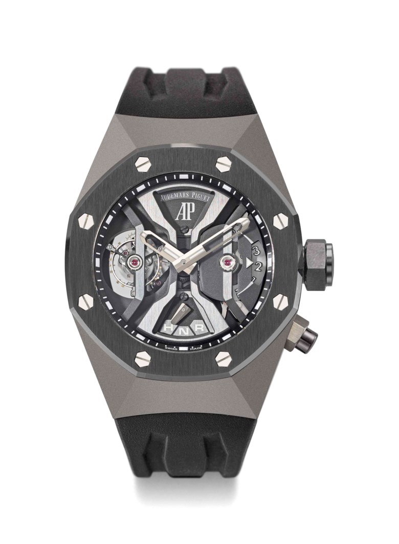 Audemars Piguet. A rare and impressive titanium tourbillon dual-time skeletonised wristwatch with black ceramic bezel and box, 2015. Signed Audemars Piguet, Royal Oak Concept GMT Tourbillon, no. 205, ref. 2'656'0IO, case no. I73788. Sold for CHF150,000 on 14 May 2018 at Christie's in Geneva