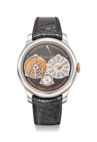 F.P. Journe. A fine and extremely rare limited edition titanium and pink gold tourbillon wristwatch with power reserve, dead beat seconds, certificate and box, made to commemorate the first anniversary of the F.P. Journe Geneva boutique