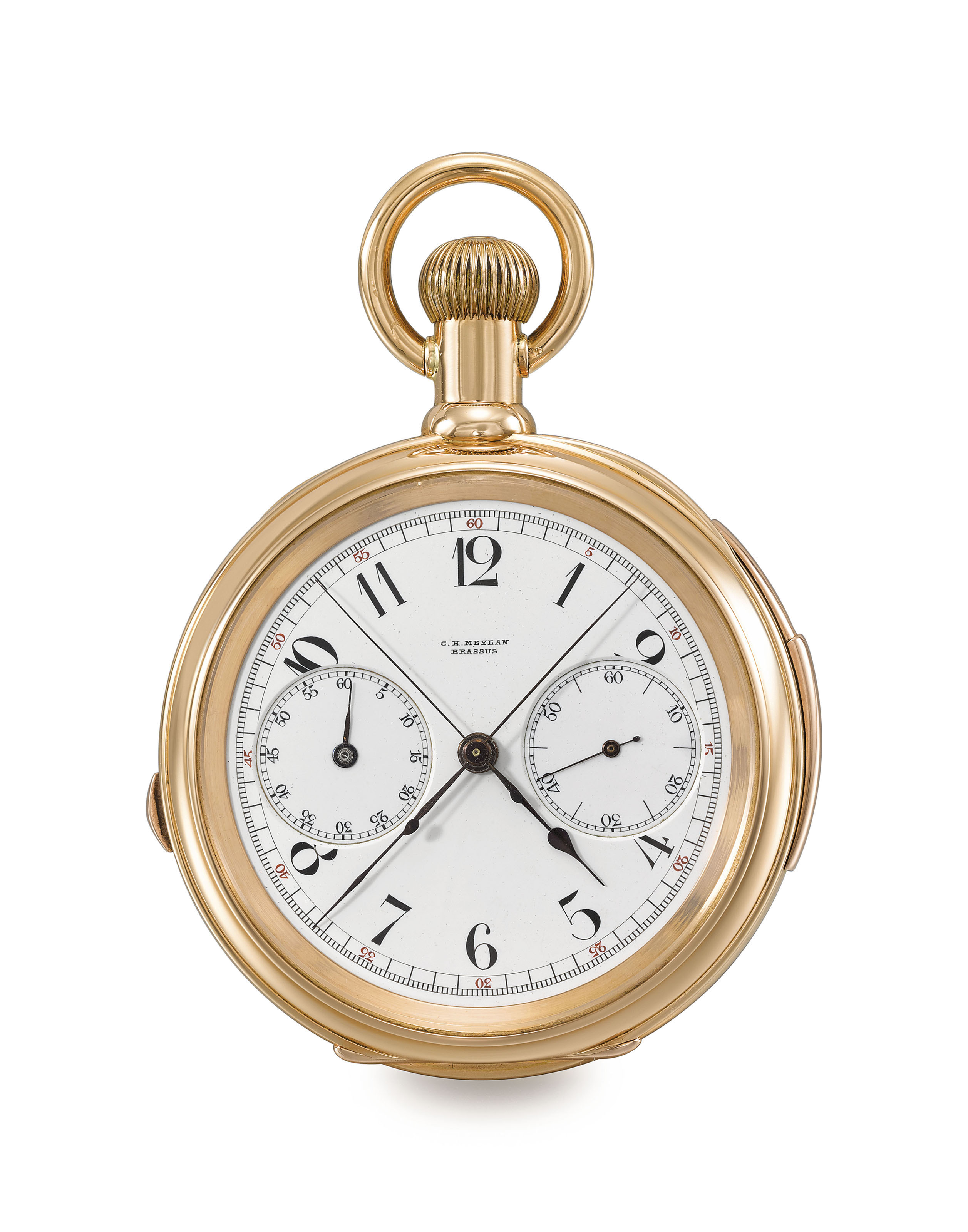 C.H. Meylan. A fine 18K pink gold openface minute repeating split seconds chronograph keyless lever watch with American case