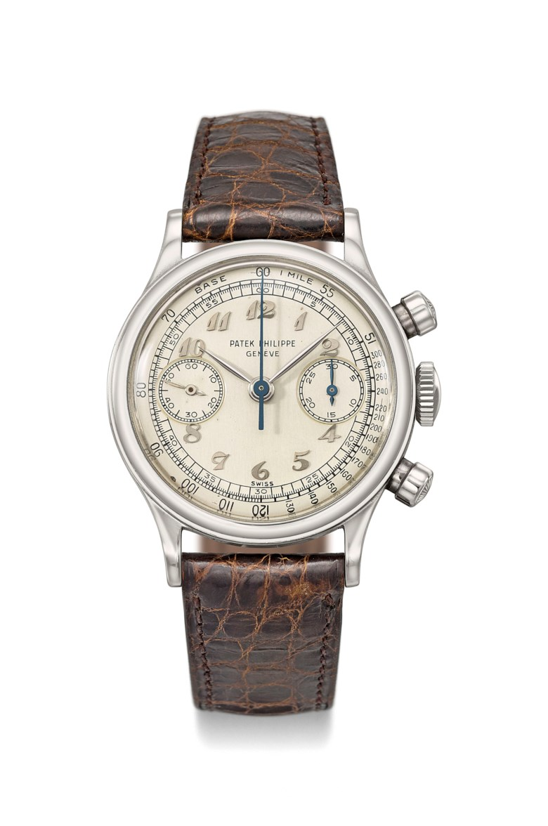 Patek Philippe. An extremely attractive, very fine and exceptionally rare stainless-steel chronograph wristwatch with Breguet numerals. Signed Patek Philippe, Genève, ref. 1463, movement no. 868'196, case no. 660'174, manufactured in 1951. Case screwback, 35 mm diameter, signed. Sold for CHF 504,500 on 14 May 2018 at Christie's in Geneva