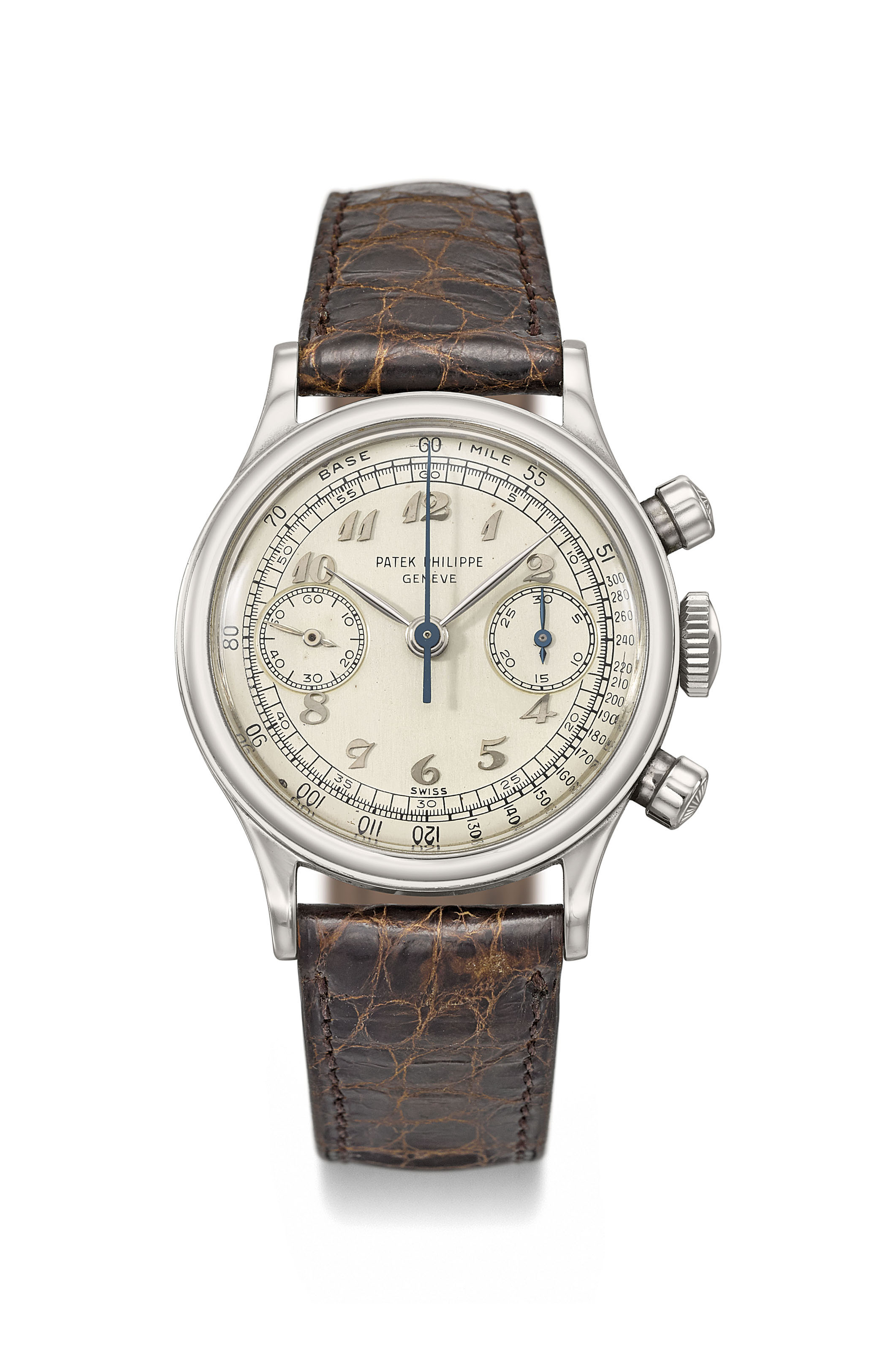 Patek Philippe. An extremely attractive, very fine and exceptionally rare stainless steel chronograph wristwatch with Breguet numerals