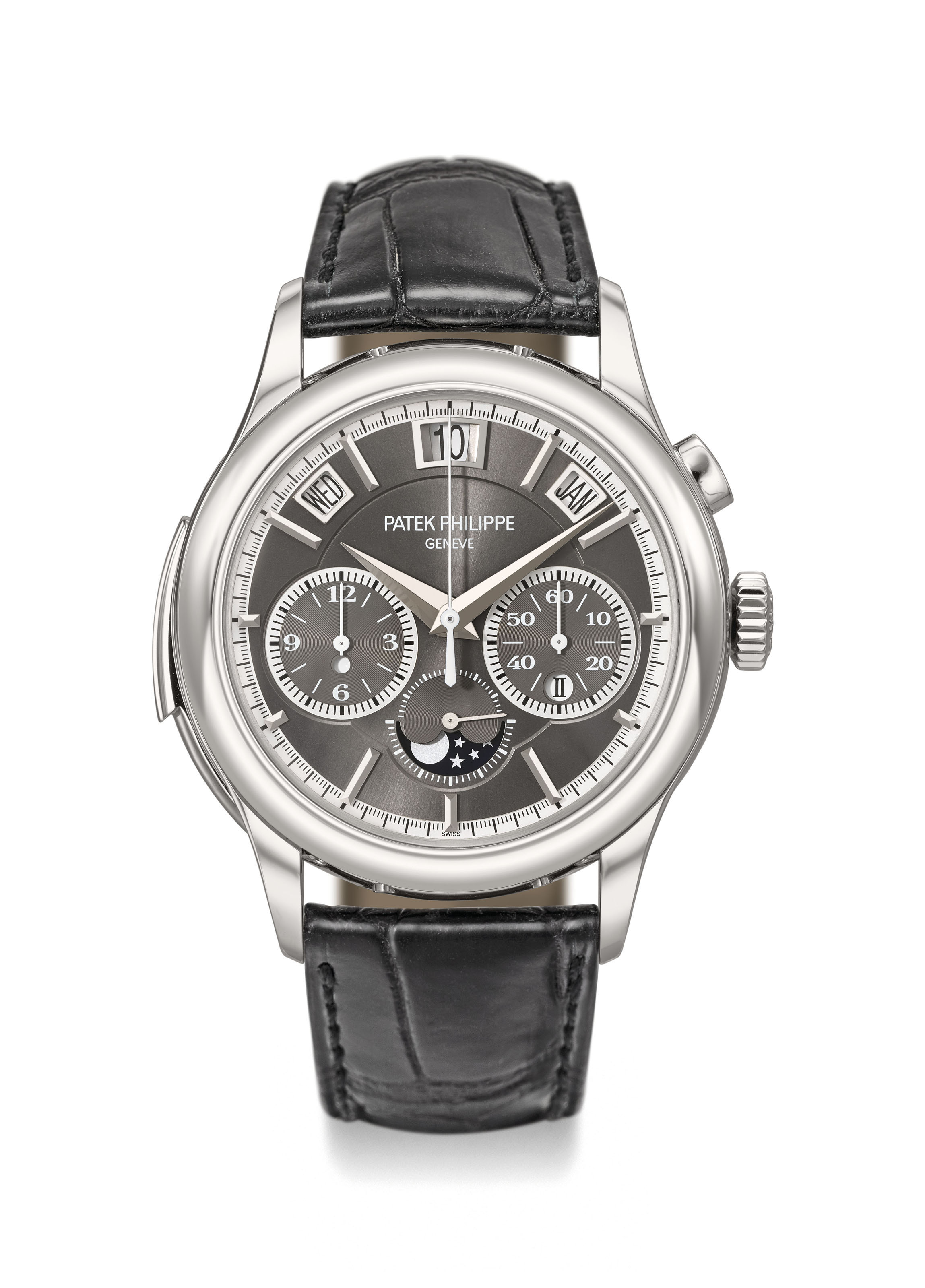 Patek Philippe. An exceptionally fine and important platinum minute repeating instantaneous perpetual calendar single button chronograph automatic wristwatch with leap year indication, day and night display and moon phases, additional solid case back, setting pin, sale tag, original certificate and box