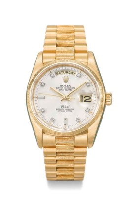 ROLEX A VERY FINE AND EXTREMLY RARE 18K GOLD & DIAMOND-SET A