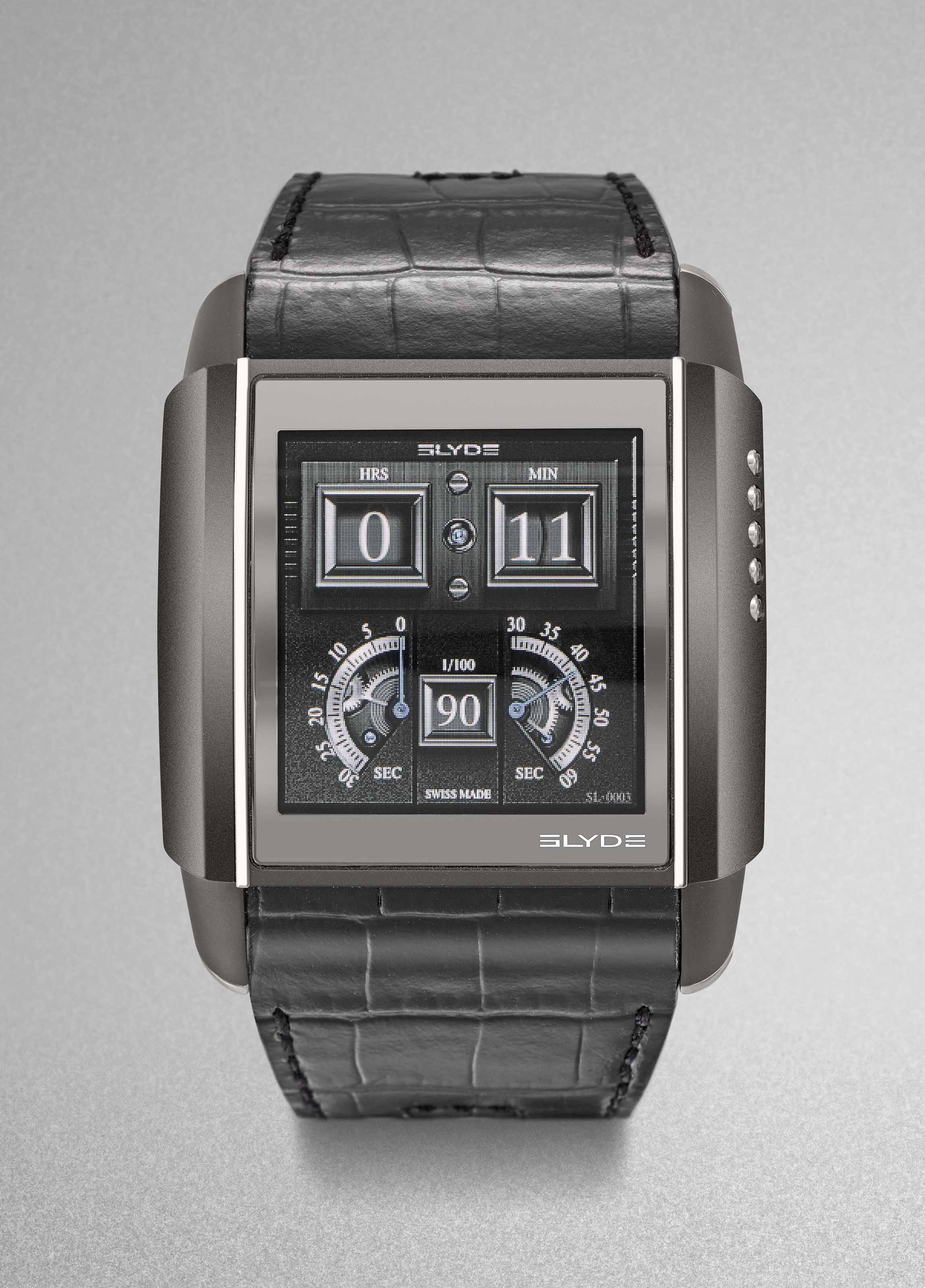 HD3. An innovative oversized black PVD-coated rectangular digital touchscreen electronic watch with power reserve indication, original certificate and box