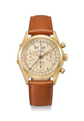 Rolex A very fine and rare 18K gold triple calendar chronogr