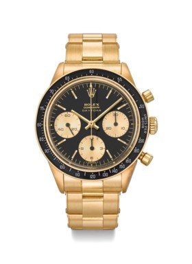 ROLEX A VERY FINE, RARE AND ATTRACTIVE 18K GOLD CHRONOGRAPH