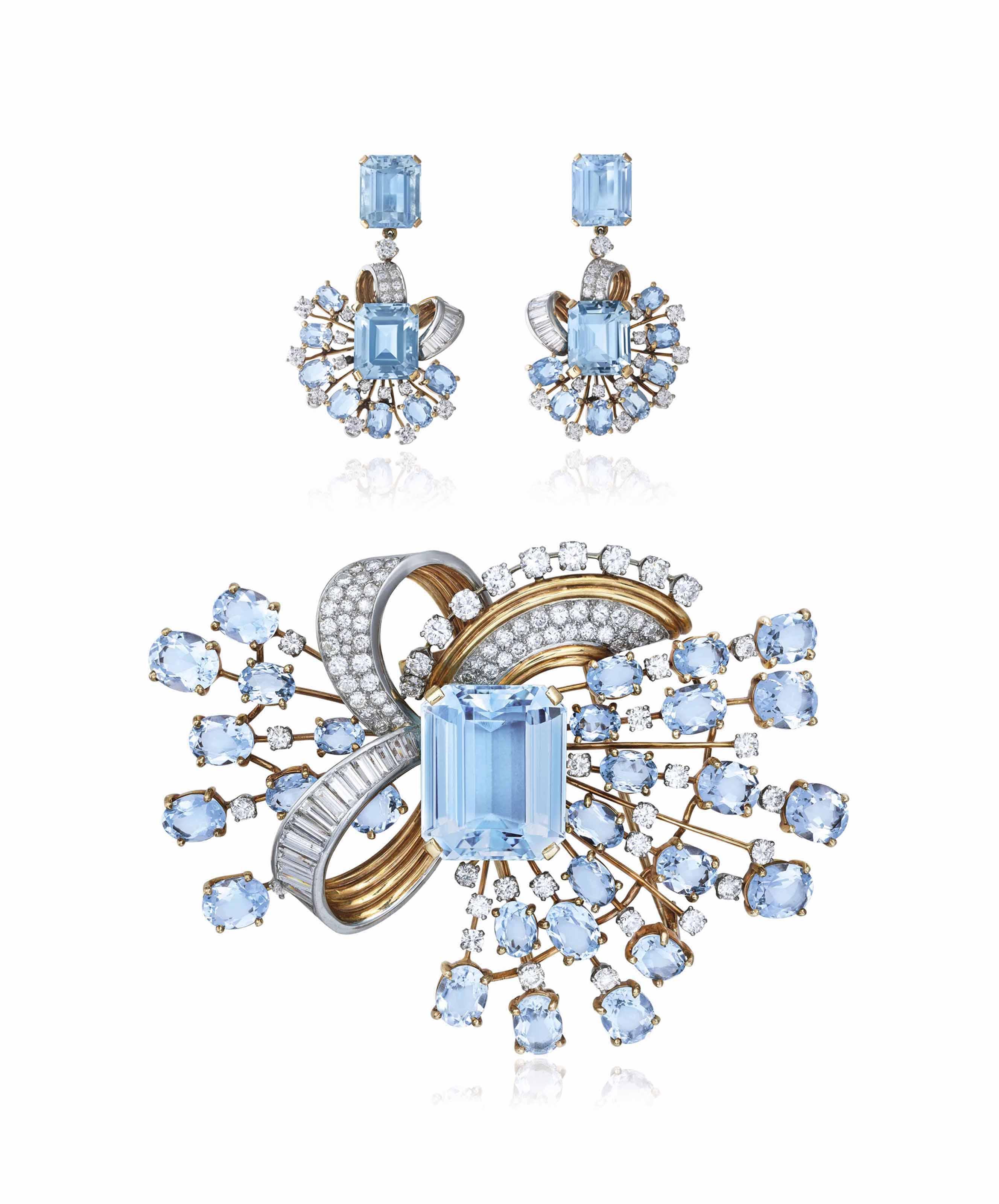 RETRO AQUAMARINE AND DIAMOND BROOCH AND EARRINGS, TRABERT & HOEFFER - MAUBOUSSIN
