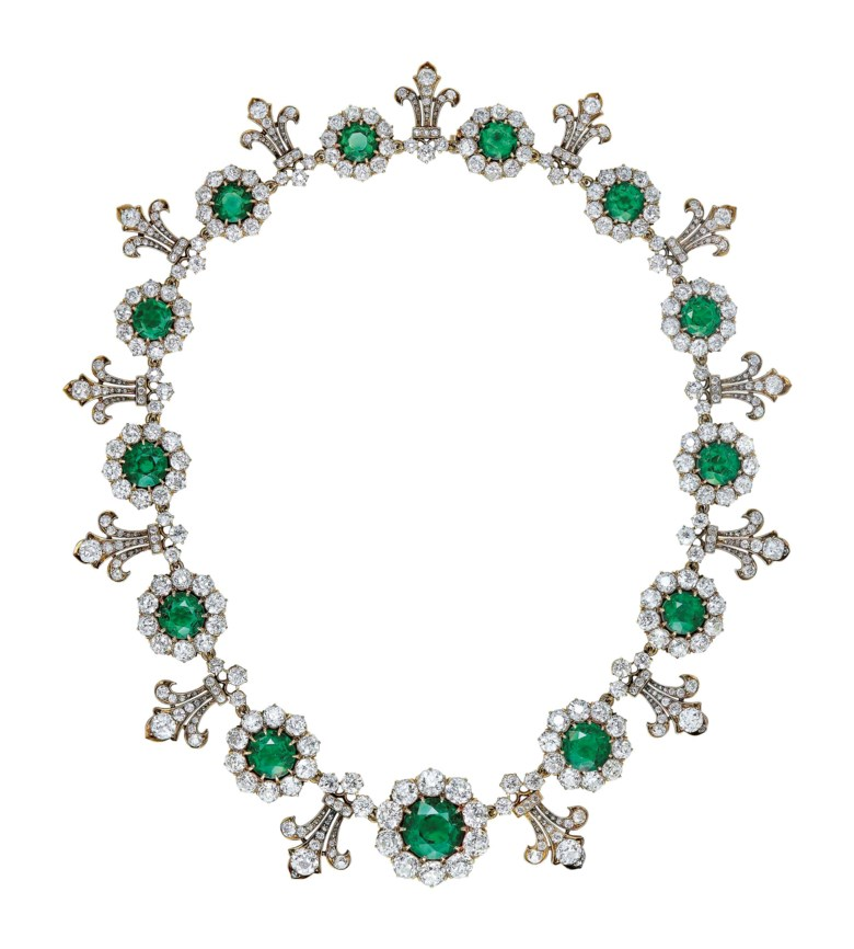 Important late-19th-century emerald and diamond necklace, by Tiffany & Co. Thirteen graduated circular-cut emeralds from approximately 7.19 to 1.70 carats each, old-cut diamonds, gold, 1880s, signed Tiffany &  Co. Sold for CHF 1,572,500 on 16 May 2018 at Christie's in Geneva