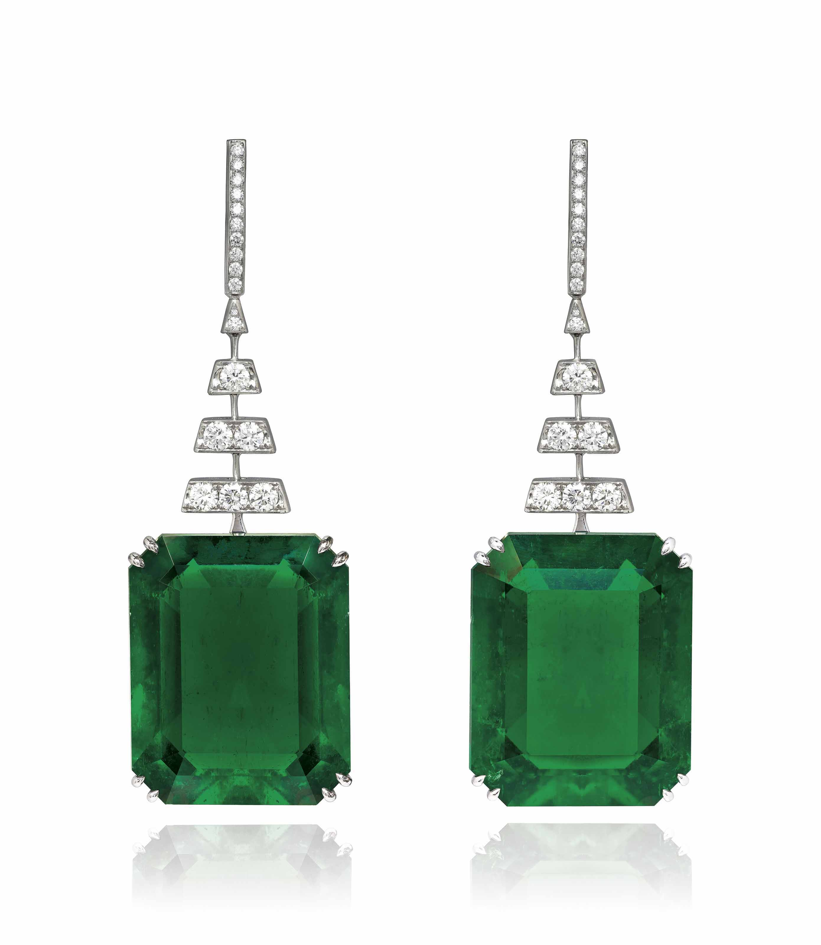 EXCEPTIONAL PAIR OF EMERALD AND DIAMOND EARRINGS