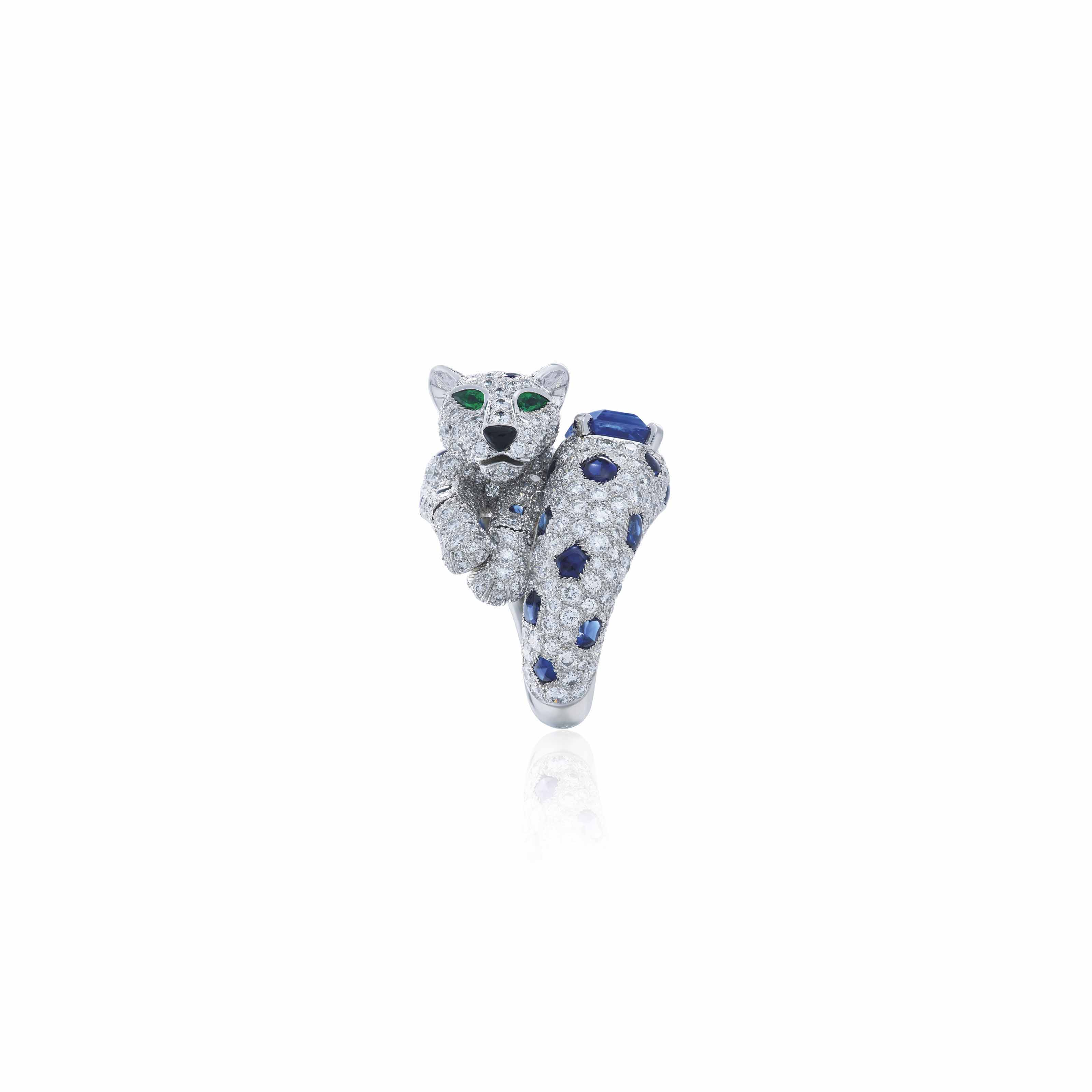 6cc6ceae02635 SAPPHIRE, DIAMOND, EMERALD AND ONYX 'PANTHÈRE' RING, CARTIER ...
