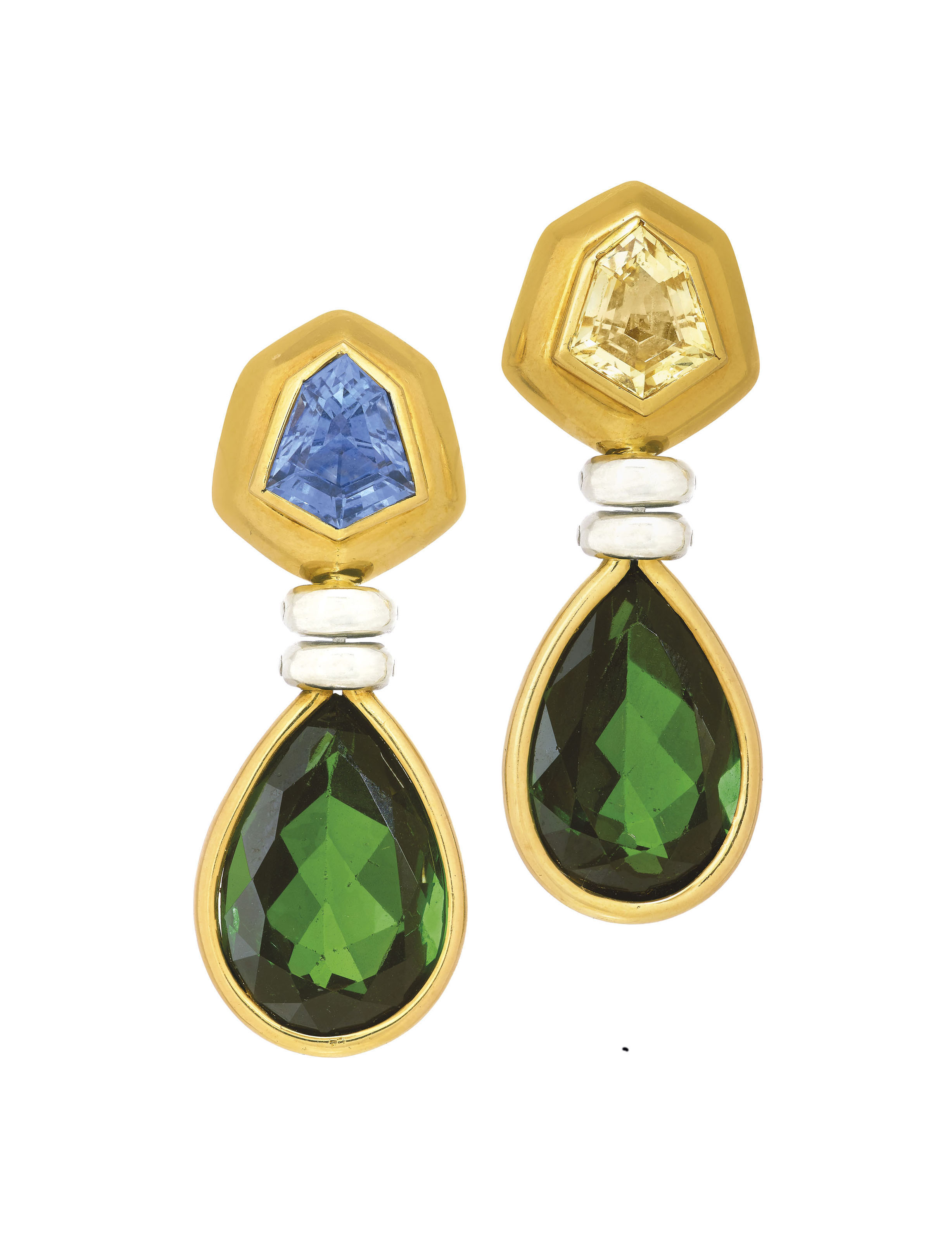 TOURMALINE AND SAPPHIRE EARRINGS, POIRAY