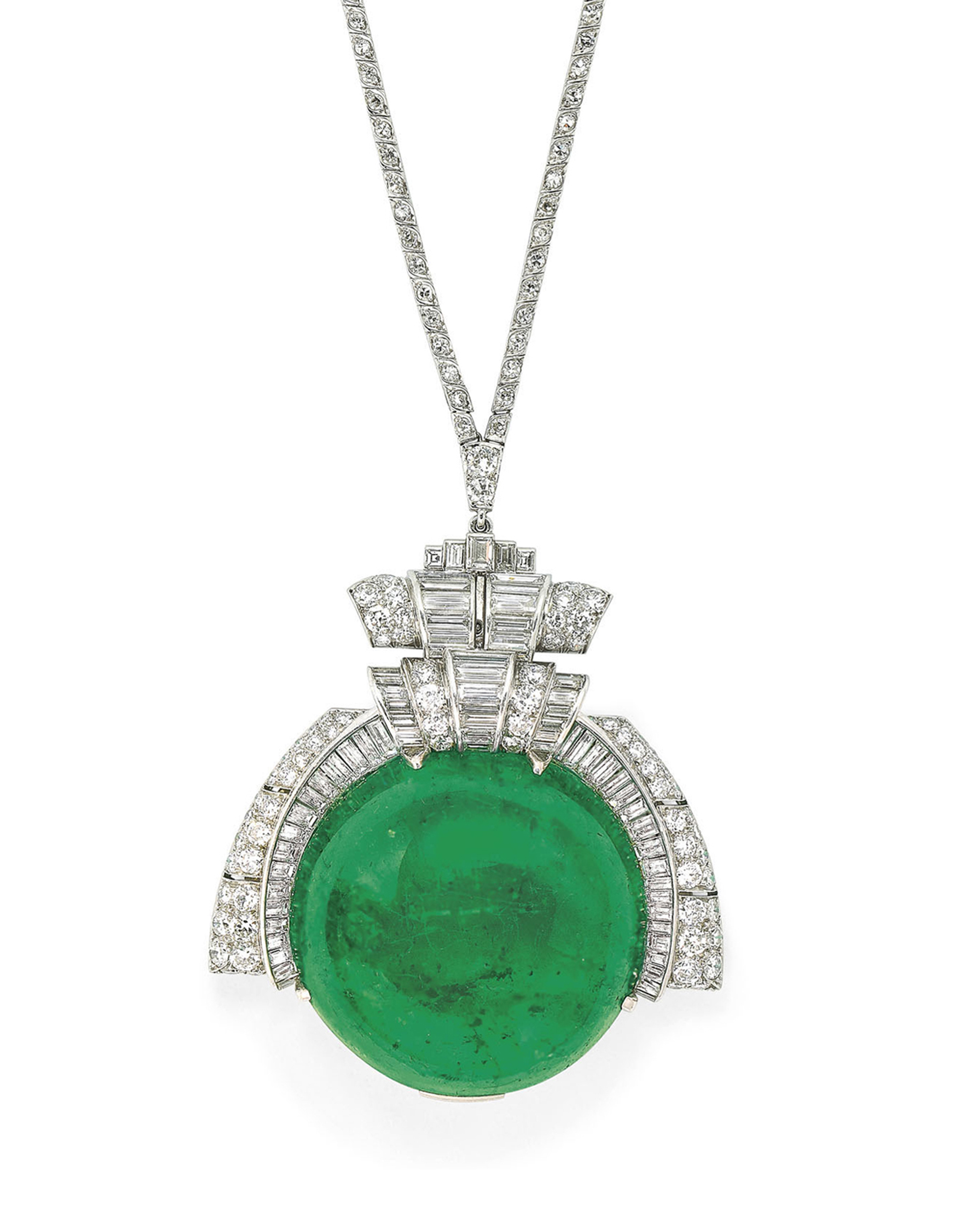 MID-20TH CENTURY EMERALD AND DIAMOND PENDENT NECKLACE