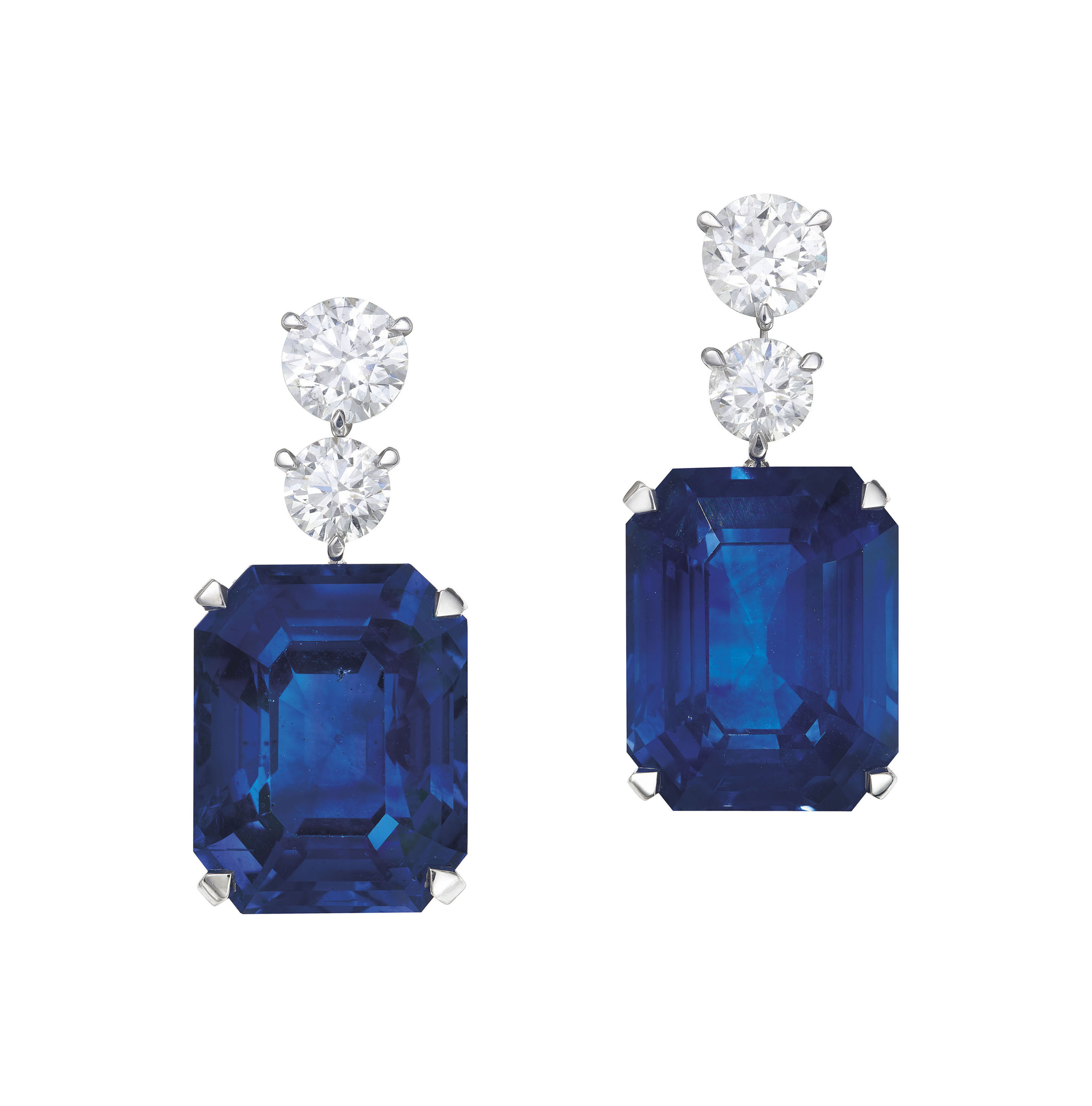 EXCEPTIONAL SAPPHIRE AND DIAMOND EARRINGS, DAVID MORRIS
