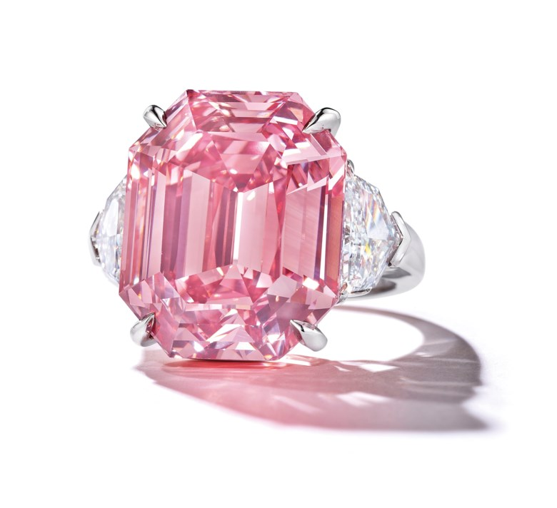 The Pink Legacy — a sensational coloured diamond ring 18.96 carats, Fancy Vivid Pink colour. Sold for CHF 50,375,000 on 13 November 2018 at Christie's in Geneva