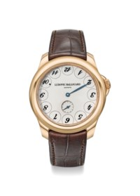 """LUDOVIC BALLOUARD. A VERY RARE 18K PINK GOLD WRISTWATCH WITH UNUSUAL """"UPSIDE DOWN"""" DIAL, ORIGINAL WARRANTY AND BOX"""