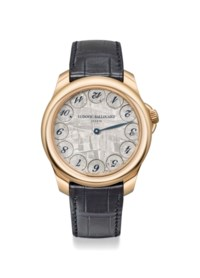 LUDOVIC BALLOUARD. A FINE AND UNIQUE 18K PINK GOLD WRISTWATCH WITH UNUSUAL METEORITE DIAL, ORIGINAL WARRANTY AND BOX