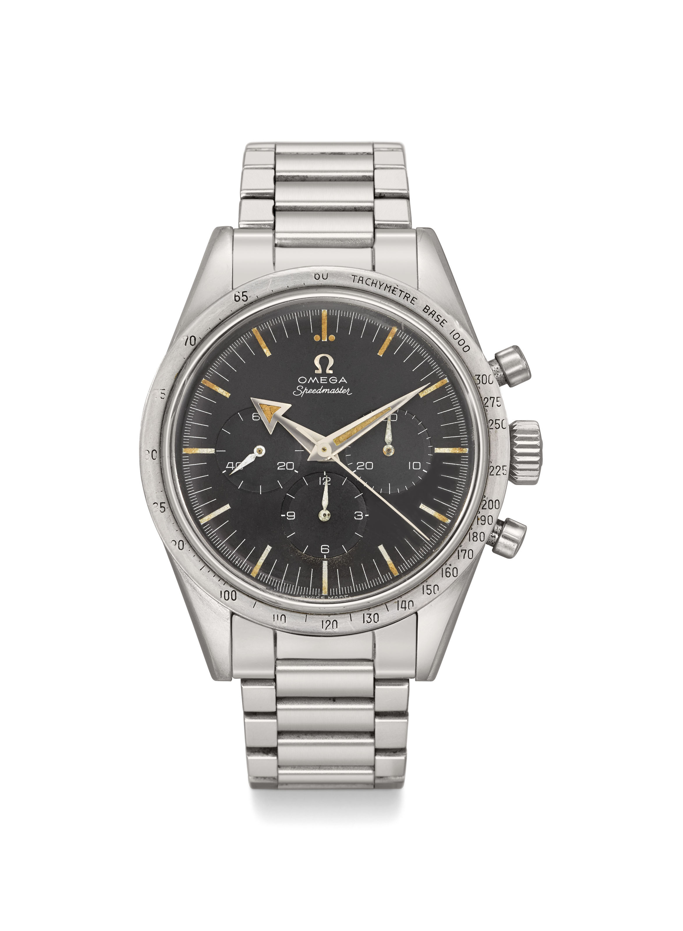 Omega. A very rare and early stainless steel chronograph wristwatch with ref. 7077 first-generation early bracelet