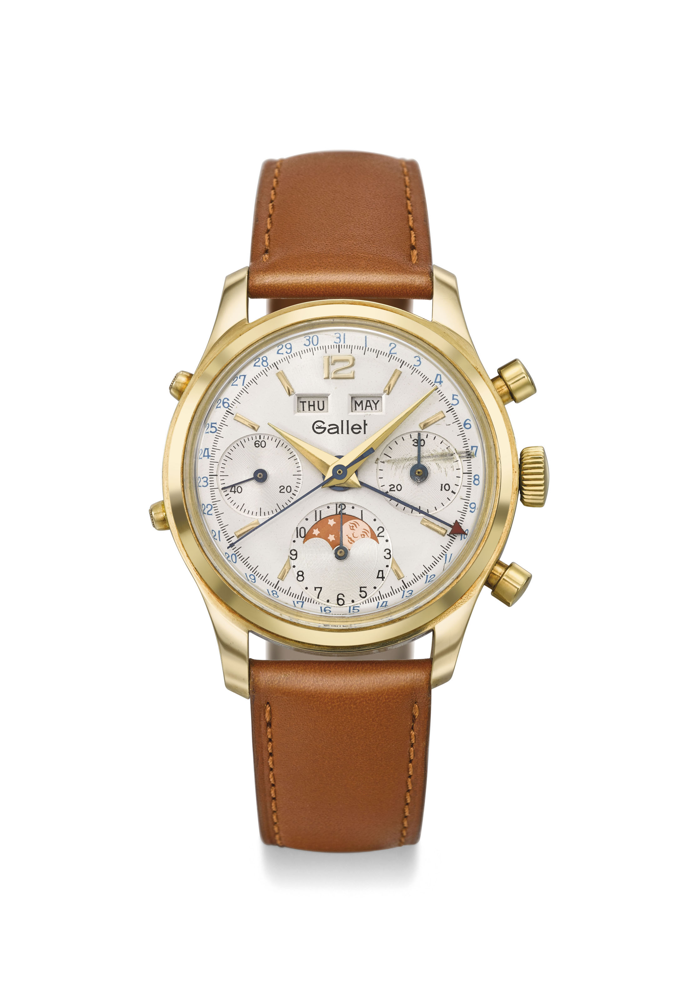 GALLET. A RARE AND UNUSUAL 14K GOLD TRIPLE DATE CHRONOGRAPH WRISTWATCH WITH MOON PHASES