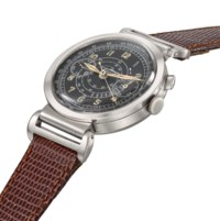 Tissot. A rare stainless steel single button chronograph wristwatch with black dial and telemeter scale