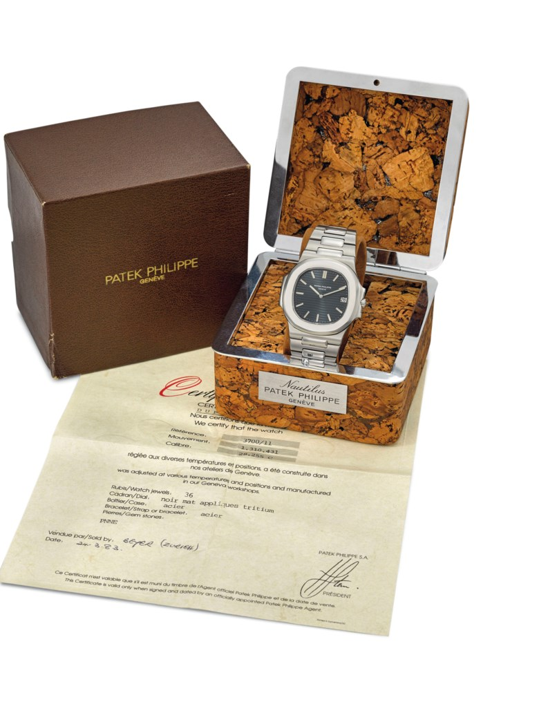 Patek Philippe. A fine and very rare stainless-steel automatic wristwatch with date, bracelet, certificate and Nautilus cork box. Signed Patek Philippe, Genève, Nautilus model, ref. 370011, movement no. 1'310'431, case no. 541'054, circa 1983. Sold for CHF 137,500 on 12 November 2018 at Christie's in Geneva