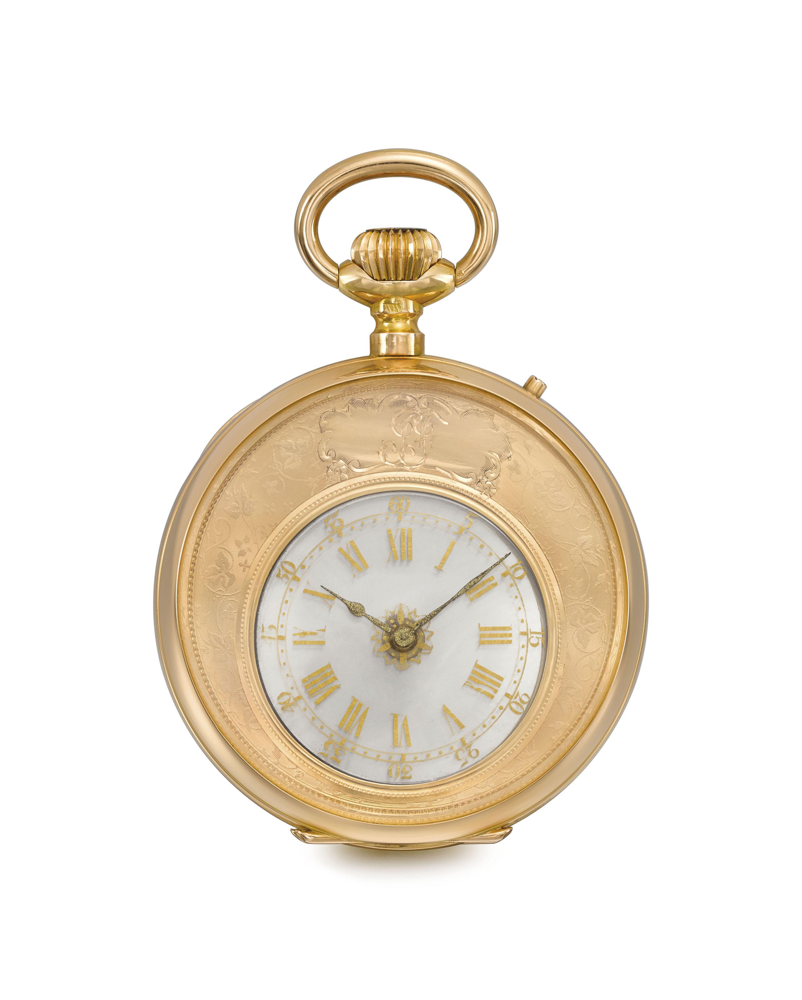 "A.S. & F. (Armand Schwob & Frère, La Chaux-de-Fonds). A fine and very rare 18K pink gold keyless ""mystérieuse"" watch"