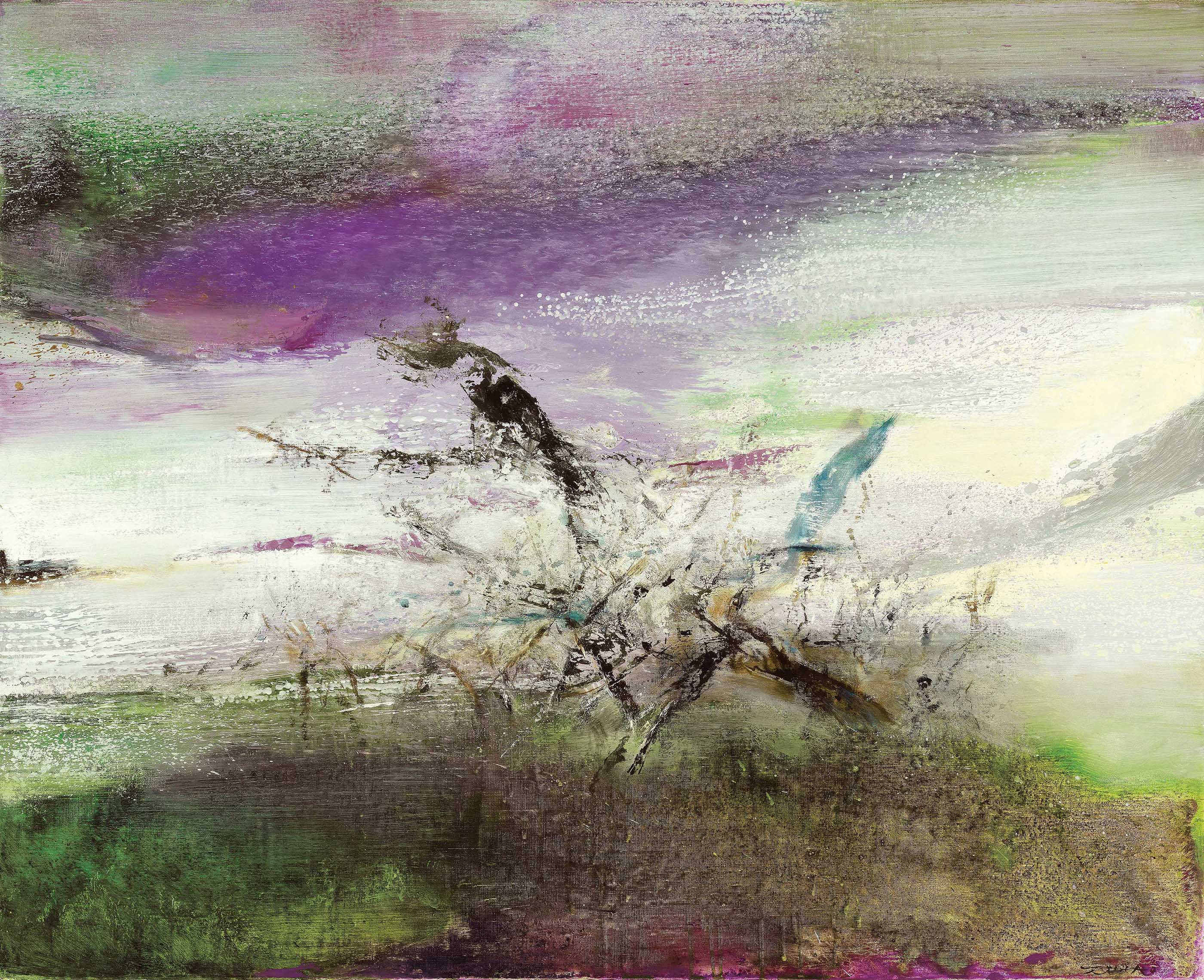 Zao Wou-Ki (1920-2013), 05.10.91, 1991. 81 x 100 cm (31⅞ x 39⅜ in). Estimate HK$8,000,000-12,000,000. Offered in Asian 20th Century & Contemporary Art on 26 May at Christie's in Hong Kong