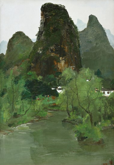 Wu Guanzhong (China, 1919-2010), By the Side of the Li River (I), painted in 1977. 59.5 x 41.5  cm (23⅜ x 16⅜  in). Estimate HK$12,000,000-20,000,000. Offered in Asian 20th Century & Contemporary Art (Evening Sale)  Contemporaries Voices from East and West (Evening Sale) on 26 May at Christie's in Hong Kong