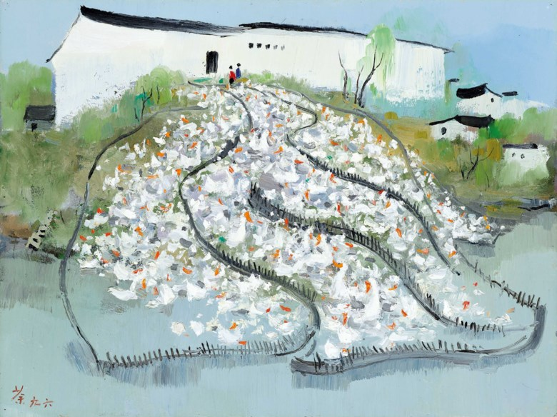 Wu Guanzhong (China, 1919-2010), All Homeland Sounds, painted in 1996. 46 x 61  cm (18⅛ x 24  in). Estimate HK$4,000,000-6,000,000. Offered in Asian 20th Century & Contemporary Art (Evening Sale)  Contemporaries Voices from East and West (Evening Sale) on 26 May at Christie's in Hong Kong