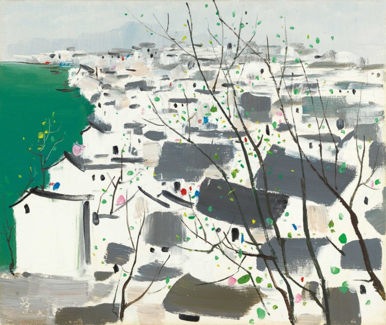 Wu Guanzhong (China, 1919-2010), Fuyang, A Riverside City (Village Town), painted in 1991. 38 x 44.5  cm (15 x 17½  in). Estimate HK$5,800,000-8,800,000. Offered in Asian 20th Century & Contemporary Art (Evening Sale)  Contemporaries Voices from East and West (Evening Sale) on 26 May at Christie's in Hong Kong