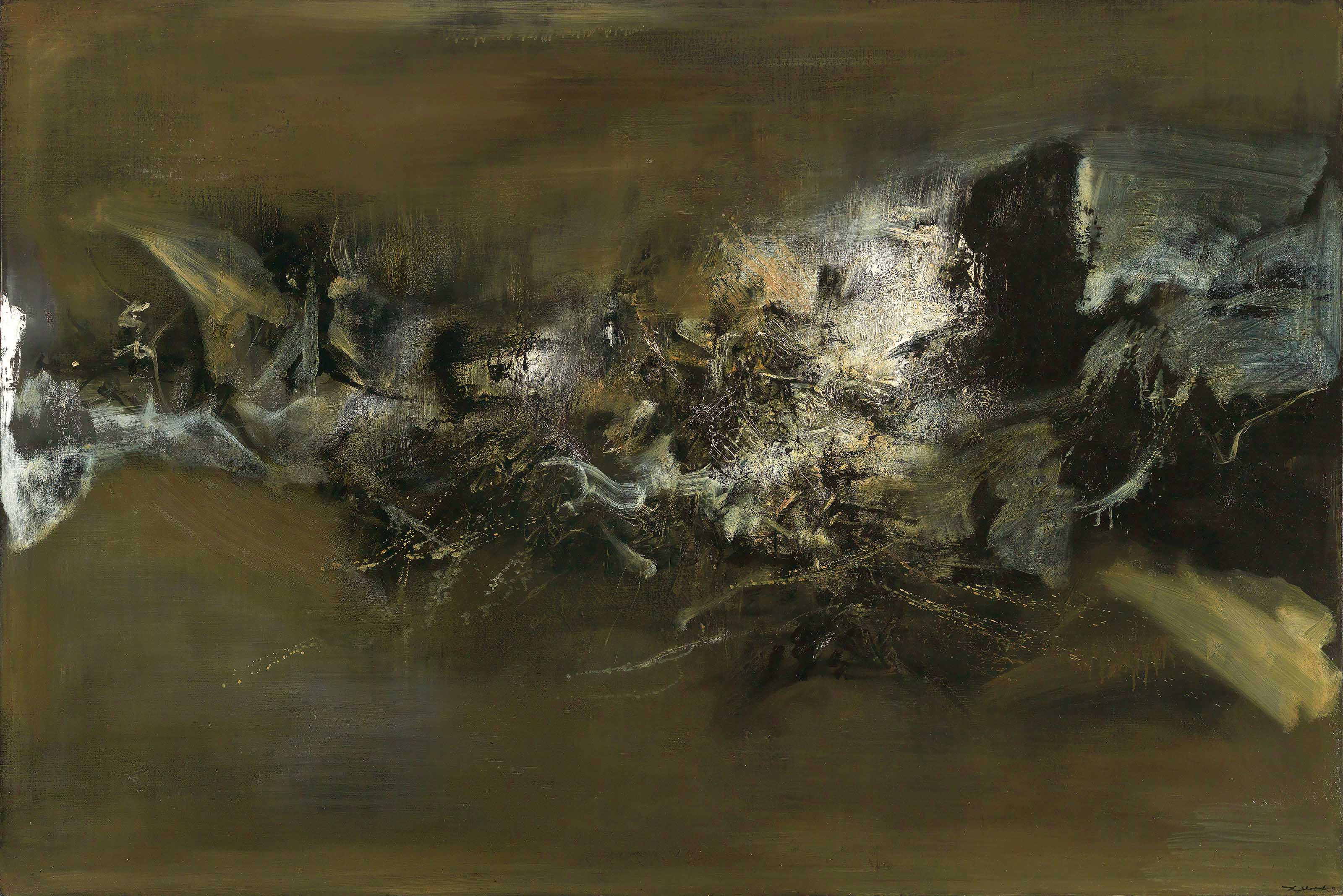 Zao Wou-Ki (1920-2013), 10.11.58-30.12.70, 1958-1970. 130 x 195 cm (51¼ x 76¾ in). Estimate HK$50,000,000-70,000,000. Offered in Asian 20th Century & Contemporary Art on 26 May at Christie's in Hong Kong