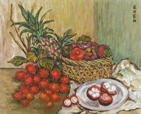 Still Life with Rambutans, Mangosteens and Pineapple