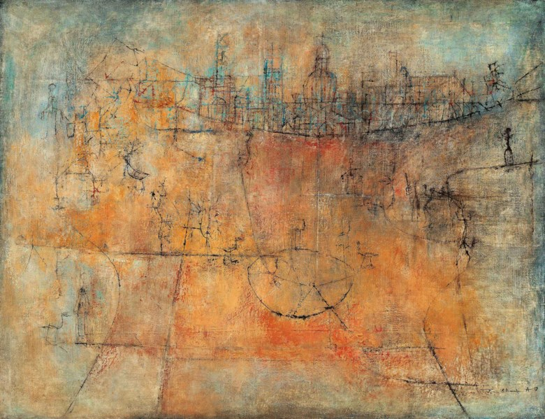 Zao Wou-Ki (1920-2013), Untitled (Golden City), 1951. 89 x 116.5  cm, 35 x 45⅞  in. Estimate on request. This lot is offered in Asian 20th Century & Contemporary Art (Evening Sale) on 24 November 2018 at Christie's in Hong Kong