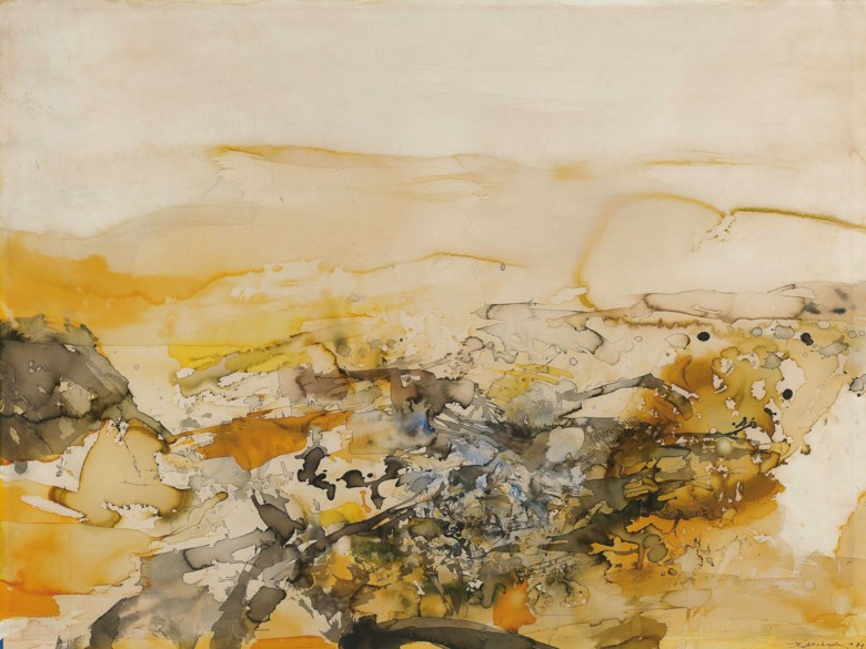 Zao wou-ki (1920-2013), Untitled, 1979. 56.5 x 76.5  cm, 29⅞ x 30  in. Estimate HK$1,800,000-3,000,000. This lot is offered in Asian 20th Century Art (Day Sale) Including a Selection of Japanese Woodblock Prints from Private Collections on 25 November 2018 at Christie's in Hong Kong