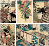 Five Woodblock Prints Depicting Actors