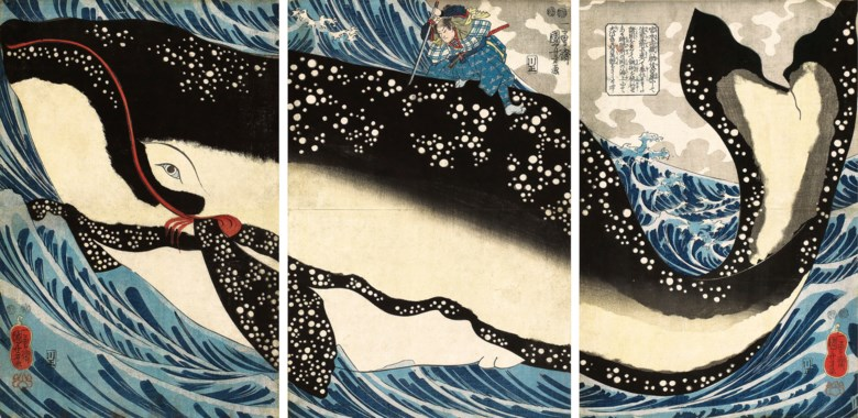 Utagawa Kuniyoshi (1797-1861), Miyamoto no Musashi Attacking the Giant Whale. Oban triptych 36 x 24.5  cm (14¼ x 9⅝  in) (3). Sold for HK$1,875,000 on 25 November 2018 at Christie's in Hong Kong