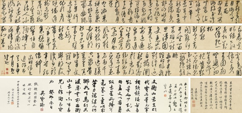 Wen Zhengming (1470-1559), Poems in Cursive Script Calligraphy. 30 x 912  cm (11¾ x 359  in). Sold for HK$7,900,000 on 28 May 2018 at Christie's in Hong Kong